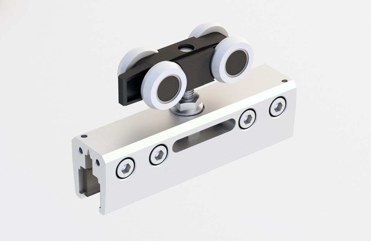 1 Tür bis 100 kg Schiebetürbeschlag für Glastüren G100 Laufschiene 200 cm